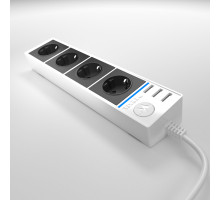 WL20-04-03 / Розеточный блок 4-х местный + 3 USB белый/черный