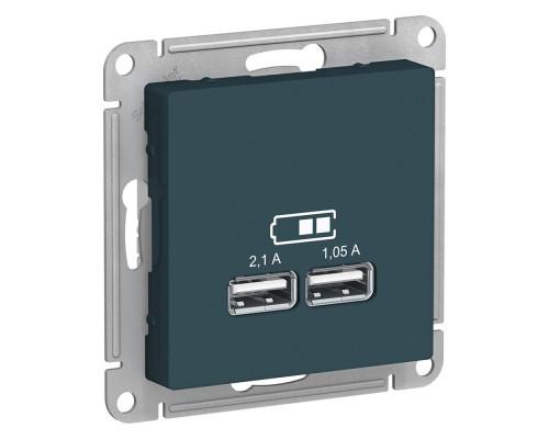 ATLASDESIGN USB РОЗЕТКА A+A, 5В/2,1 А, 2х5В/1,05 А, механизм, ИЗУМРУД