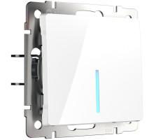 W1112101/ Выключатель одноклавишный проходной с подсветкой (белый)