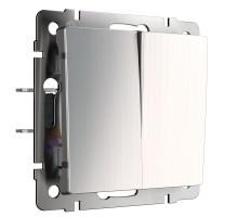 W1122002/ Выключатель двухклавишный проходной (глянцевый никель)