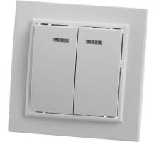 Выключатель 2-клавишный с индикатором STEKKER, PSW10-9002-01, 250В, 10А, серия Эрна, белый