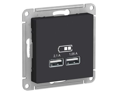ATLASDESIGN USB РОЗЕТКА A+A, 5В/2,1 А, 2х5В/1,05 А, механизм, КАРБОН