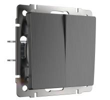 W1120004/ Выключатель двухклавишный (графит рифленый)