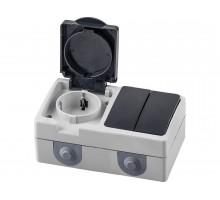 Блок: розетка 1-местная с/з + выключатель 2-клавишный STEKKER, PST16-11-54/10-121-54, серый/графит