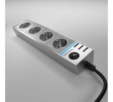 WL20-04-03 / Розеточный блок 4-х местный + 3 USB серебряный/серебряный рифленый
