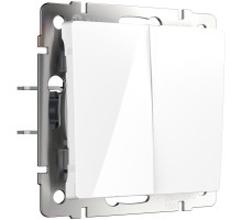W1122001/ Выключатель двухклавишный проходной (белый)