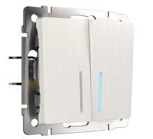 W1120113/ Выключатель двухклавишный с подсветкой (перламутровый рифленый)