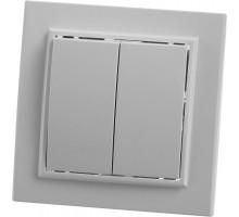Выключатель 2-клавишный, STEKKER, PSW10-9004-01, 250В, 10А, серия Эрна, белый