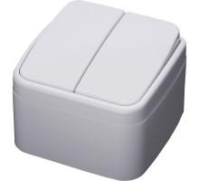 Выключатель 2-клавишный STEKKER, PSW10-42-20, открытой установки, 250В, 10А, IP20, серия Basic, белый