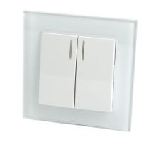 Выключатель 2-клавишный c индикатором, STEKKER, GLS10-7002-01, 250В, 10А, серия Катрин, белый