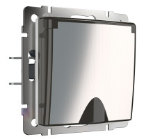 W1171202/ Розетка влагозащ. с зазем. с защит. крышкой и шторками (глянцевый никель)
