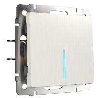W1110113/ Выключатель одноклавишный с подсветкой (перламутровый рифленый)