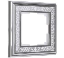 W0011431/ Рамка на 1 пост Palacio Gracia (хром/белый)