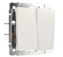 W1120013/ Выключатель двухклавишный (перламутровый рифленый)