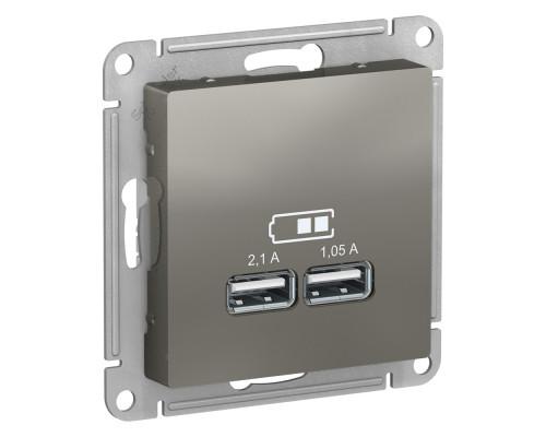 ATLASDESIGN USB РОЗЕТКА A+A, 5В/2,1 А, 2х5В/1,05 А, механизм, СТАЛЬ