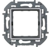 """Адаптер Legrand Inspiria для 2-модульных механизмов Legrand Mosaic, скрытого монтажа, цвет """"Алюминий"""""""