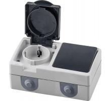 Блок: розетка 1-местная с/з + переключатель 1-клавишный, STEKKER, PST16-11-54/10-112-54, серый/графит