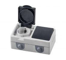 Блок розетка 1-местная с/з+  выключатель 1-клавишный STEKKER, PST16-11-54/10-111-54, серый/графит