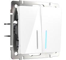 W1120101/ Выключатель двухклавишный с подсветкой (белый)