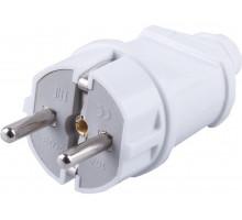 Вилка STEKKER PPG16-42-201 прямая с заземляющим контактом, пластик 250В, 16A, IP20, белая