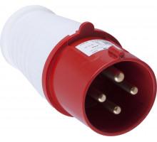Вилка прямая для силовых кабелей STEKKER, PPG32-41-441, сечением 2,5-6 мм2, 4 PIN, нейлон/латунь 415В, 32A, IP44, красный/белый