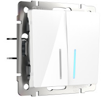 W1122101/ Выключатель двухклавишный проходной с подсветкой (белый)