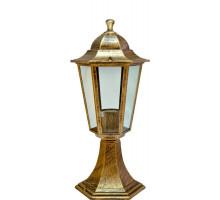 Светильник садово-парковый Feron 6104/PL6104 шестигранный на постамент 60W E27 230V, черное золото