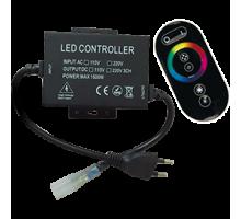 Ecola Контроллер 1500W 6,6A для ленты 220V 16x8 IP68 с кольцевым сенсорным черным радиопультом