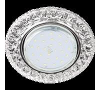 """Ecola GX53 H4 LD7009 Светильник встраиваемый искристый с подсветкой """"Кристалл"""" Прозрачный / Хром"""