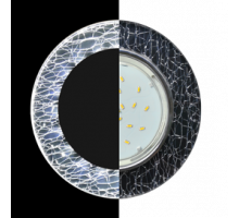 Ecola GX53 H4 LD5310 Glass Стекло Круг с подсветкой  хром - колотый лед на черном