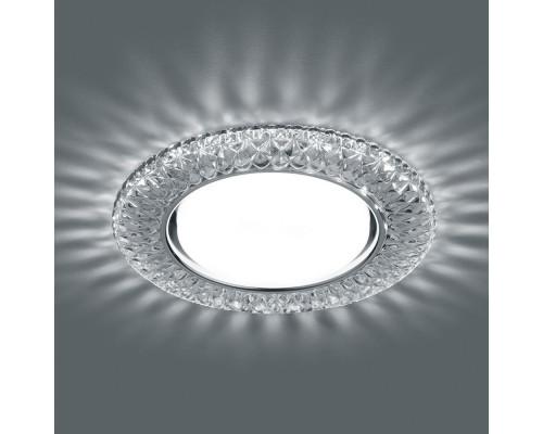 Светильник встраиваемый с белой LED подсветкой Feron CD4043 потолочный GX53 без лампы, прозрачный, хром